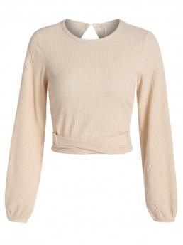 Full Sleeve Pullovers Polyester,polyurethane Solid Crisscross Open Back Tied Crop Sweater Discount