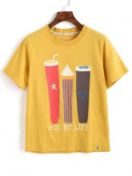 Summer Cartoon and Letter Short Round Regular Fashion Cute Cartoon T Shirt