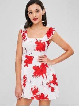 No Fall and Summer Floral Ruffles Sleeveless Scoop Mini A-Line Cocktail Cute Floral Ruffle Open Back Dress