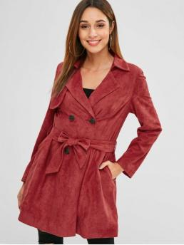 Autumn and Winter Yes Fashion Pockets Solid Lapel Long Full Skirt Trench Double Breasted Faux Suede Trench Coat