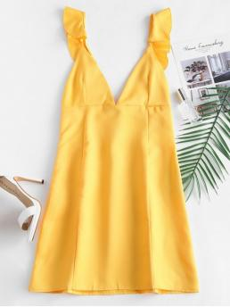 No Summer Solid Ruffles Sleeveless Plunging Mini A-Line Club and Night Fashion Ruffles Open Back Mini Dress