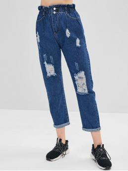Fall and Spring Pocket and Ripped Regular Ninth Dark Denim Casual Ruffle Waist Ripped Cuffed Jeans