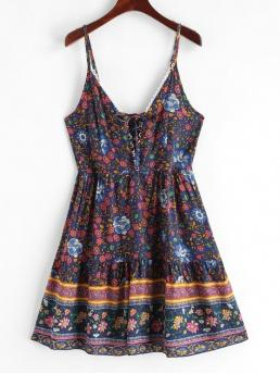 No Summer Floral Lace Sleeveless Spaghetti Mini A-Line Vacation Casual Floral Print Lace Up Flared Cami Dress