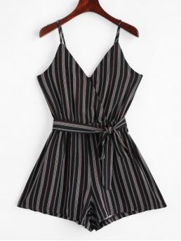 Summer Yes Striped Nonelastic Sleeveless Spaghetti Mini Regular Fashion Daily and Going Belted Stripes Surplice Cami Romper