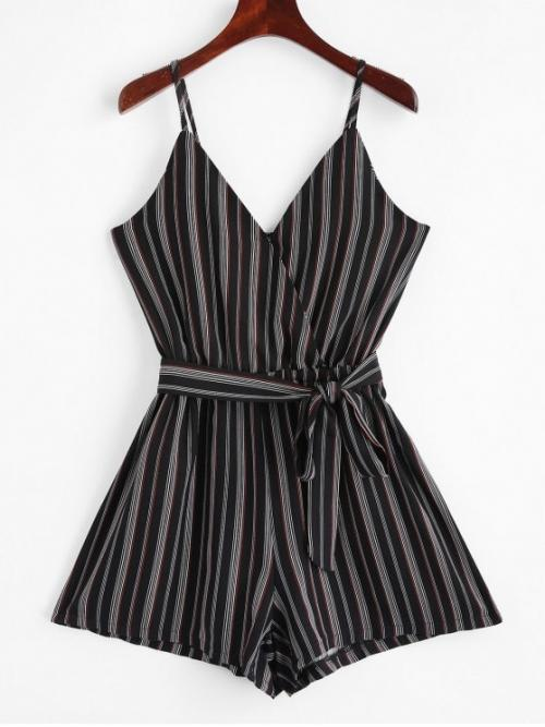 Summer Yes Striped Nonelastic Sleeveless Spaghetti Mini Regular Fashion Daily and Vacation Belted Stripes Surplice Cami Romper