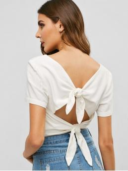 Summer Bowknot and Cut Solid Short Short Plunging Fashion Daily and Outdoor Back Knot Plunge Crop Top