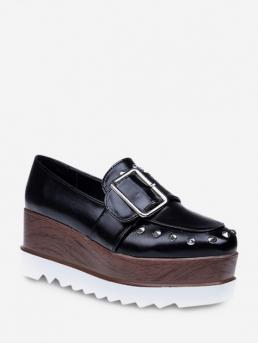 Spring/Fall PU Square Closed Platform Basic Daily Casual Platform Studded Square Toe Clog Platform Shoes