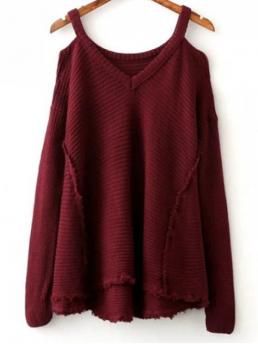 Fall and Spring and Winter Solid Fashion V-Collar Full Pullovers Distressed Cold Shoulder Sweater