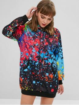 No Fall and Spring Print Front Long Hooded Mini Hoodie Straight Casual and Day Brief Splatter Paint Pocket Hoodie Dress