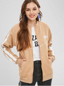 Winter Letter Stand-Up Full Regular Wide-waisted Fashion Jackets Graphic Fleece Lined Zip Up Bomber Jacket