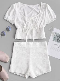No Summer Solid Flat Elastic High Nonelastic Short Scoop Skinny Fashion Beach Tied Collar Top And Smocked Shorts Set