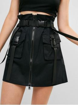 Yes Summer Zipper Criss-Cross and Pockets and Zippers Others A-Line Mini Daily Leisure Zip Front Buckled Pockets Belted Skirt