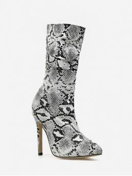 Trendy PU Rubber Slip-On Animal 11CM Stiletto Pointed Mid-Calf Spring/Fall Fashion For Snakeskin Print High Heel Leather Mid Calf Boots