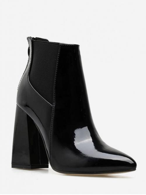 Trendy Patent Zip Patchwork 11CM Chunky Pointed Ankle Spring/Fall Fashion For Patent Leather Chunky Heel Chelsea Ankle Boots