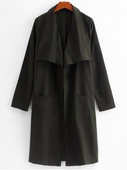 Autumn and Spring No Nonelastic Pockets Solid Turn-down Full Long Slim Long Daily and Going Fashion Longline Open Front Patched Pockets Coat