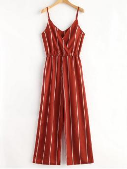 No Striped Regular Casual Striped Surplice Cami Jumpsuit