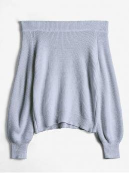 Autumn Solid Elastic Full Off Regular Regular Casual Pullovers Off The Shoulder Lantern Sleeve Pullover Sweater