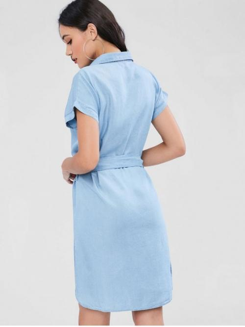 Yes Fall and Spring and Summer Solid Short Shirt Mid-Calf Shirt Straight Work Office Button Through Chambray Shirt Dress