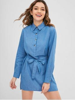Yes Fall and Spring Solid Long Shirt Mini Straight Day and Work Office Chambray Belted Long Sleeve Shirt Dress