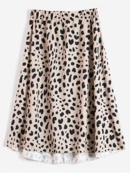 Fall and Spring Elastic Leopard A-Line Mid-Calf Daily and Going Fashion Leopard Print A Line Midi Skirt