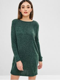 No Winter Solid Long Round Mini Straight Casual  and Day Casual Solid Color Mini Sweater Dress