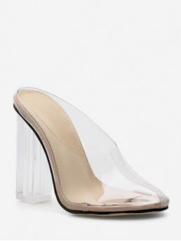 11CM Summer PVC Rubber Pointed Closed Chunky Slingbacks Daily Fashion Pumps Closed Toe PVC Clear High Heel Pumps