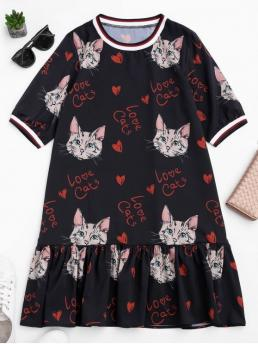 Summer No Animal Short Mini Round A-Line Causal and Day and Going Cute Ruffles Cat Print Mini Dress