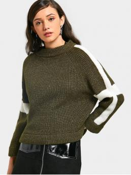 Full Mock Fashion Pullovers Two Tone Chunky Sweater