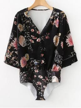 Fall and Spring Floral Fashion Half Buttoned Velvet Floral Bodysuit