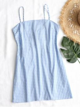 No Spring and Summer Plaid Hollow Sleeveless Spaghetti Mini A-Line Day Brief Tie Gingham Cut Out Mini Dress