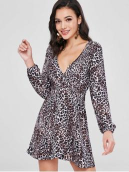 No Fall and Spring Animal Long V-Collar Mini A-Line Day Fashion Surplice Long Sleeves Leopard Print Dress