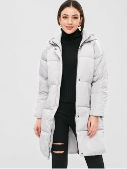 Solid Hooded Full Long Wide-waisted Fashion Hooded Quilted Puffer Winter Coat