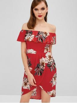 No Summer Floral Short Off Knee-Length Asymmetrical Casual  and Day and Holiday Fashion Floral Off Shoulder Asymmetrical Dress