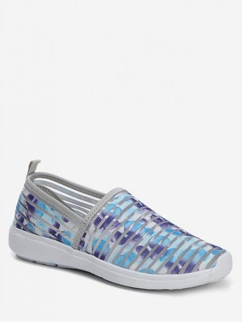 Summer Striped Casual Fashion Synthetic Rubber Slip-On Round Closed For Slip-On Striped Breathable Casual Flat Shoes