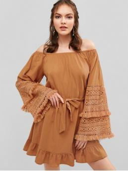 Yes Fall and Spring and Summer Solid Long Off Mini A-Line Casual and Day and Vacation Casual Off Shoulder Crochet Belted Dress