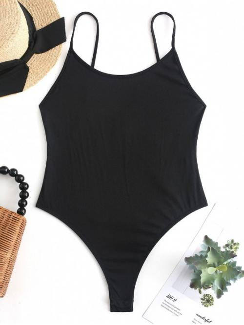 No Summer Backless and Criss-Cross Solid Sleeveless Spaghetti Sexy Club Criss Cross Backless Cami Bodysuit