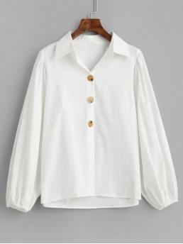 Autumn and Spring Solid Full Regular Nonelastic Shirt Cute Daily and Work Cotton Lantern Sleeve Shirt