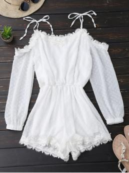 No Others Regular Fashion Lace Trim Tie Shoulder Romper With Dot
