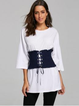 Solid Fall and Spring and Summer Casual Crew Three Regular Corset Belt Drop Shoulder Tunic T-shirt