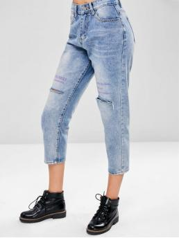 Fall and Spring and Winter Pocket and Ripped Zipper Mid Loose Ninth Medium Casual Distressed Boyfriend Jeans
