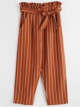 Fall and Spring Yes Zipper Straight Striped Ruffles Regular High Fashion Ruffles Striped Straight Pants