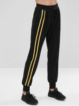 Fall and Spring Elastic Pencil Striped Regular Mid Casual Side Pockets Stripe Sweat Jogging Pants