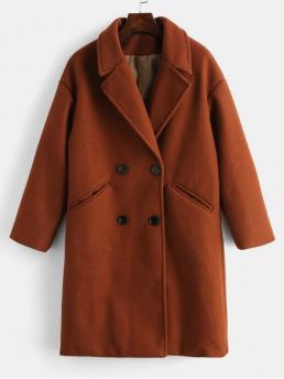 Solid Double Lapel Full Long Wide-waisted Casual Double Breasted Plain Lapel Coat