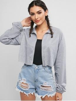 No Autumn and Spring Solid Zipper Turn-down Drop Full Short Wide-waisted Casual Jackets Daily Drop Shoulder Raw Hem Crop Jacket