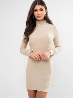 No Fall Elastic Solid Long Turtlecollar Mini Jumper Bodycon Casual and Day and Work Elegant Turtleneck Ribbed Bodycon Knit Dress