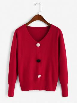 Autumn Button Others Elastic Full V-Collar Regular Regular Casual Daily Pullovers Mock Button V Neck Pullover Sweater