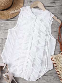 Fall and Spring and Summer Ruffles Solid Stand-Up Sleeveless Regular Casual Ruffled Sleeveless See-Through Shirt