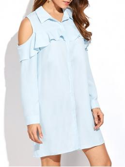 Fall and Spring No Solid Long Shirt Mini A-Line Work Cold Shoulder Ruffled Shirt Dress