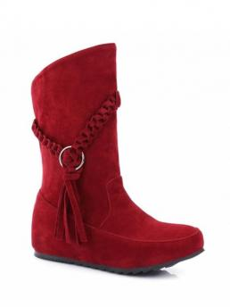 Winter Microfiber Tassel Solid Slip-On Increased Round 30CM Mid-Calf Fashion For Tassels Weave Hidden Wedge Mid Calf Boots