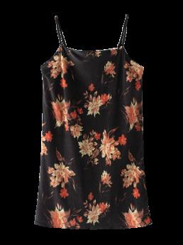 Fall and Spring and Summer No Floral Sleeveless Mini Spaghetti Slip Straight Velour Causal Casual Floral Velvet Cami Dress